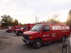 G.A. Bove Fuels service trucks getting ready for work