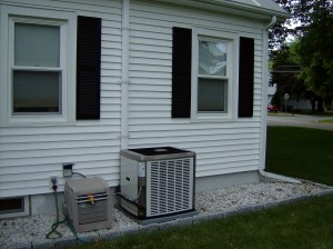 York air conditioning unit outside of house